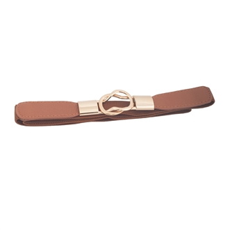 Plus size Gold Interlock Buckle Skinny Elastic Belt Brown