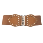 Plus Size Rhinestone Studded Elastic Belt Brown 16113