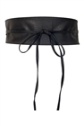 Plus size Faux Leather Obi Waistband Sash Belt Black