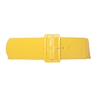 Plus Size Wide Patent Leather Fashion Belt Yellow
