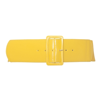 Women's Wide Patent Leather Fashion Belt Yellow