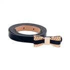 Plus Size Butterfly Buckle Patent Faux Leather Skinny Belt Black