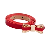 Plus Size Butterfly Buckle Patent Faux Leather Skinny Belt Red