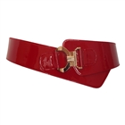 Plus Size Wide Patent Leather Metallic Buckle Elastic Fashion Belt Red