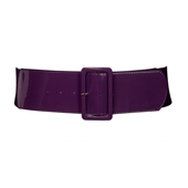 Women's Wide Patent Leather Fashion Belt Purple