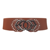 Plus Size Heart Rhinestone Accented Elastic Fashion Belt Brown 1761