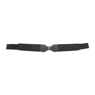 Plus size Bow Buckle Skinny Elastic Belt Black