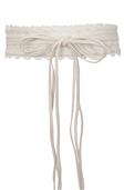 Plus size Faux Leather Obi Waistband Sash Belt Lace Detail Off White