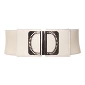 Rhinestone Wide Elastic Plus Size Belt White
