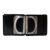 Rhinestone Wide Elastic Women's Belt Black