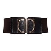 Rhinestone Wide Elastic Women's Belt Dark Brown