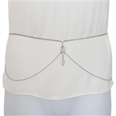 Plus Size Rhinestone Pendant Belly Waist Chain Silver