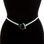 Plus size O-Ring Pendant Buckle Metal Elastic Waist Belt Silver Tone