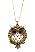 Magnifier Magnifying Glass Owl Pendant Sliding Top Magnet Pendant Necklace Gold Tone