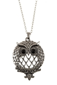 Magnifier Magnifying Glass Owl Pendant Sliding Top Magnet Pendant Necklace Silver Tone