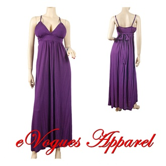 Purple Empire Waist Deep Cut Plus Size Maxi Dress