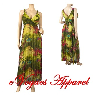Sexy Green Chiffon Plus Size Cruise Maxi Dress