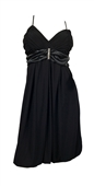 Black Wrap Bodice Empire waist plus size Dress