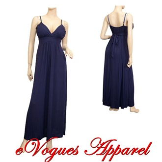 Navy Blue Empire Waist Deep Cut Plus Size Maxi Dress