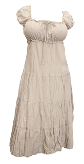 Light Brown Cotton Empire Waist Plus Size SunDress
