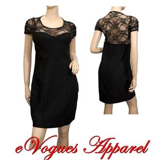 Plus Size Lace Top Black Mini Dress | eVogues Apparel