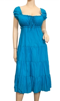 Plus Size Blue Cotton Empire Waist SunDress