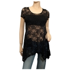 Plus size Sheer Floral Lace Top Black