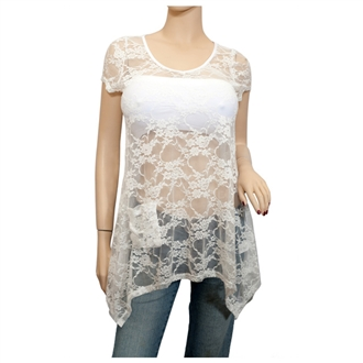 Plus size Sheer Floral Lace Top White