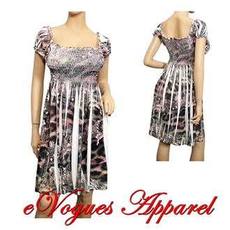 Jr Plus Size Smocked Bodice Slimming Babydoll Dress | eVogues Apparel