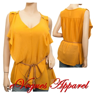 Jr Plus Size Sleeveless Chiffon Top Mustard Yellow