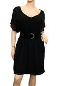 Jr Plus Size Split Back Chiffon Dress Black