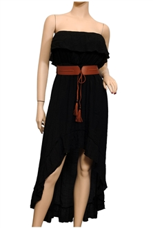 Plus size Strapless High-Low Dress Black | eVogues Apparel