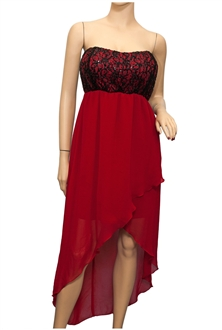 Plus size Sequined Bodice High-Low Chiffon Dress Red | eVogues Apparel
