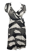 Plus size Polka Dot Abstract Print Deep V Dress Black