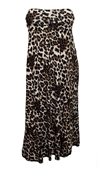 Plus size Striped Dress Skirt Brown Animal Print
