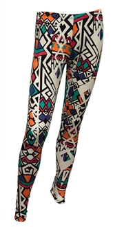 Plus size Colorful Abstract Print Cotton Legging At eVogues Price $21.99