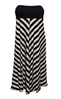 Plus size Striped Dress Skirt Taupe Black