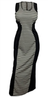 Plus Size Stripe Print Zipper Back Maxi Dress Black