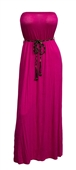 Plus size Maxi Tube Dress with Tassel Belt Pink