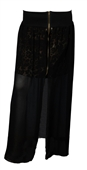 Plus Size Double Layered Lace Skirt Black
