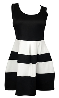 Plus size Color Block Flare Dress Black White