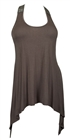 Plus size Laced Back Sleeveless Tunic Top Chocolate Brown