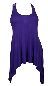 Plus size Laced Back Sleeveless Tunic Top Purple