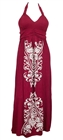 Plus Size Embroidery Print Maxi Halter Neck Cocktail Dress Burgundy