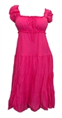 Plus Size Cotton Empire Waist Sundress Pink