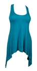 Plus size Laced Back Sleeveless Tunic Top Teal
