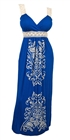 Plus Size Embroidery Print Empire Waist Maxi Dress Royal Blue