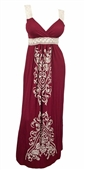 Plus Size Embroidery Print Empire Waist Maxi Dress Burgundy