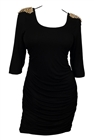 Plus Size Open Back Spike Studded Shoulder Dress Black
