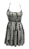 Plus Size Designer Print Tiered Dress Gray